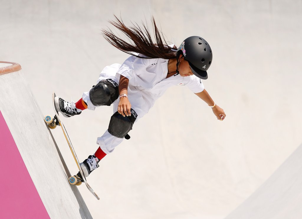 Kokona Hiraki of Team Japan competes during the first run of the Women's Skateboarding Park Finals on day 12 of the Tokyo 2020 Olympic Games at Ariake Urban Sports Park on Aug. 4, 2021, in Tokyo, Japan.