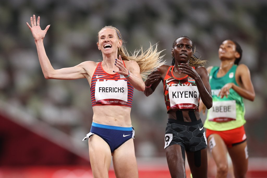 Courtney Frerichs of Team USA celebrates after winning the silver medal in the Women's 3000m Steeplechase Final on day twelve of the Tokyo Olympic Games at Olympic Stadium, Aug. 4, 2021 in Tokyo, Japan.