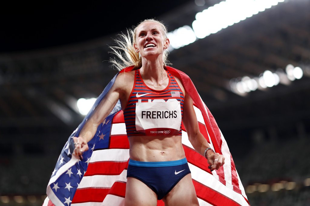 Courtney Frerichs of Team USA celebrates after winning the silver medal in the Women's 3000m Steeplechase Final on day twelve of the Tokyo Olympic Games at Olympic Stadium on Aug. 4, 2021 in Tokyo, Japan.