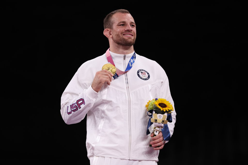 Men's Freestyle 86kg gold medalist David Morris Taylor III of Team United States poses with his medal during the Victory Ceremony on day thirteen of the Tokyo 2020 Olympic Games at Makuhari Messe Hall on Aug. 5, 2021, in Chiba, Japan.