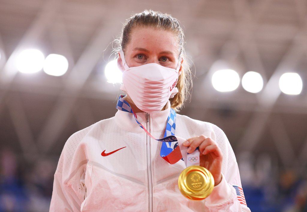 Gold medalist Jennifer Valente of Team United States, poses during the medal ceremony after the Women's Omnium finals of the track cycling on day sixteen of the Tokyo 2020 Olympic Games at Izu Velodrome on August 08, 2021 in Izu, Shizuoka, Japan.