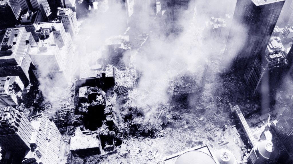 An aerial view of the 9/11 attacks on the World Trade Centre Site in New York, Sept. 11, 2001.
