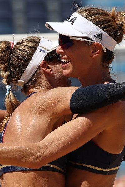 April Ross and Alix Klineman at the 2020 Tokyo Olympics