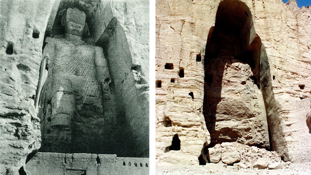 A giant statue of the Buddha, carved onto the side of a cliff in the Bamyan Valley, Afghanistan, between 591 and 644 B.C. (left) was destroyed on April 11, 2001 by the Taliban to global outcry (right). The statue was one of two Buddha statues detonated to follow the fundamental Islamic principal that forbids showing the human body in art.