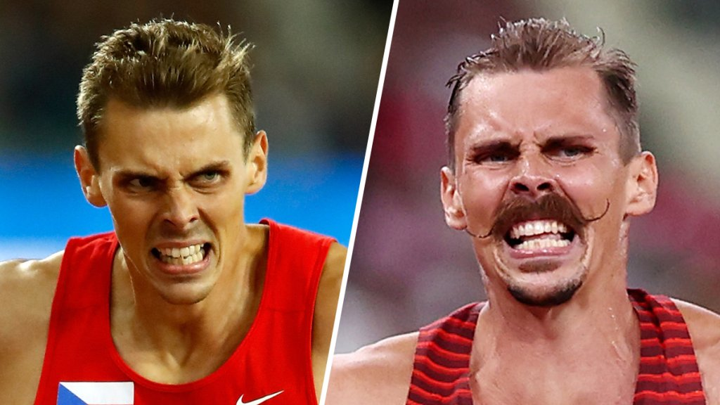 Czech decathlete Adam Helcelet competes during the 16th IAAF World Athletics Championship, Aug. 11, 2017, left, and in the Tokyo Olympics, Aug. 4, 2021, right.