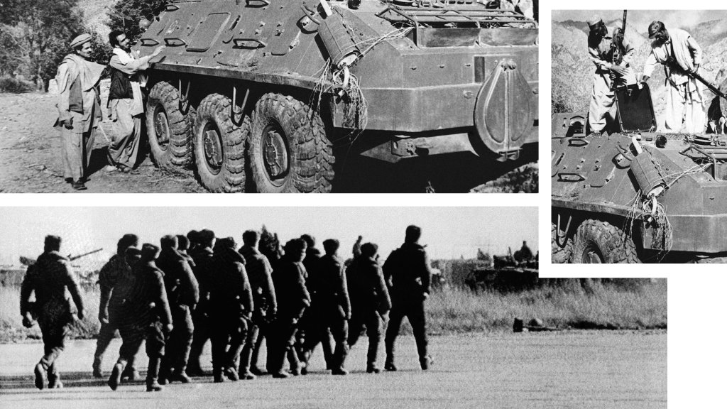 Top, right: Rebel Muslim fighters inspect a captured Soviet tank near Asmar, Afghanistan, Dec. 27, 1979. Bottom: A squad of Soviet troops with automatic weapons marches on the Kabul Airport tarmac Dec. 30, 1979.