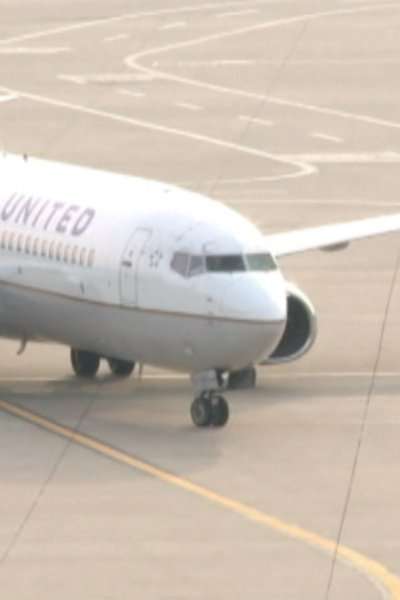 File of United Airlines plane on tarmac