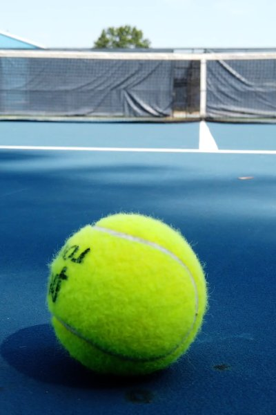 Tennis ball sits on empty court.