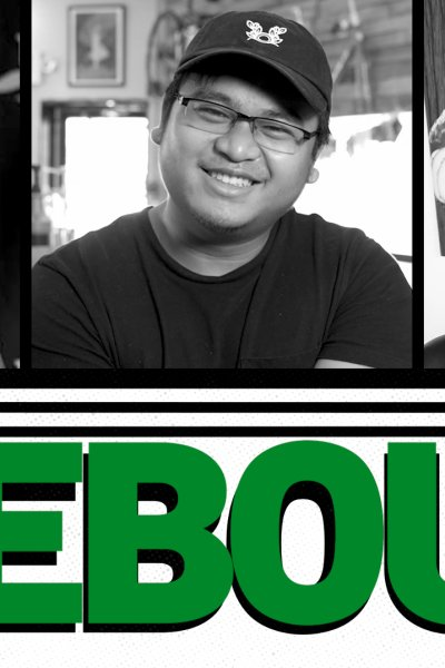 """Three Black & White photos of smiling people on top with green bold text below reading """"REBOUND"""""""